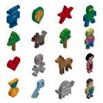 Pixel characters isometric — Stock Vector #52919945