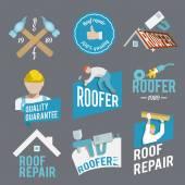 Roofer label set — Stock Vector