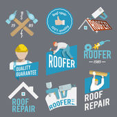 Roofer label set — Stock Vector