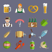 Beer icons set flat — Stock Vector