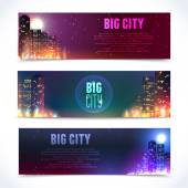 City at night horizontal banners — Vettoriale Stock