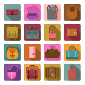 Bags colored flat icons set — Stock Vector