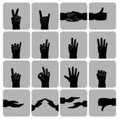 Hands icons set black — Vector de stock