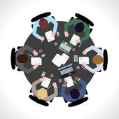 Business meeting top view — Stock Vector
