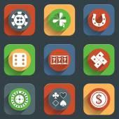Casino flat design elements — ストックベクタ