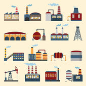 Industrial building icons — Stock Vector