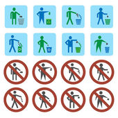 Litter icons set — Stock Vector