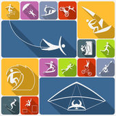 Extreme sports icons flat — Stock Vector