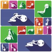 Fitness ball icons set flat — Stock Vector