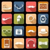Iconos hipster planos — Vector de stock
