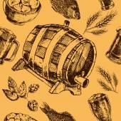 Beer retro seamless pattern — Stock Vector