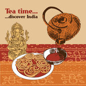 Indian teapot and cup — Stok Vektör