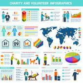 Volunteer infographic set — Stok Vektör