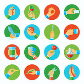 Hand holding objects flat set — Stock Vector