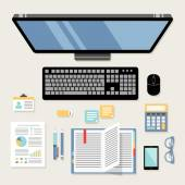 Office workplace flat — Stock Vector