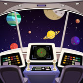 Spaceship cartoon interior — Stock Vector