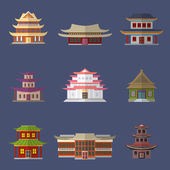Chinese house icons — Vector de stock