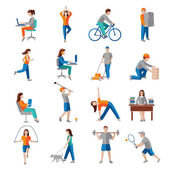 Physical activity icons — Stock Vector