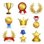 Realistic award icons set — Stock Vector