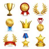 Realistic award icons set — Stock Vector