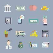 Bank service icons flat set — Stock Vector