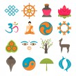 Buddhism icons set — Stock Vector #53122695
