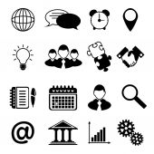 Business Icons Black — Stock Vector