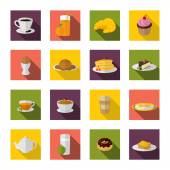 Breakfast Icons Flat — Stock Vector