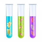 Viruses in test tube — Stock Vector