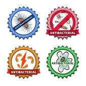 Antibacterial badges set — Stock Vector