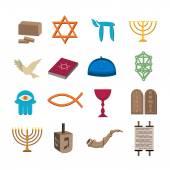 Judaism icons set — Stock Vector