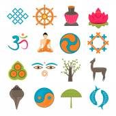 Buddhism icons set — Stock vektor