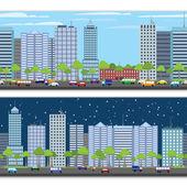 Cityscape tileable border — Stock Vector