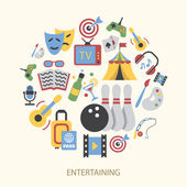 Entertainments icons set — Stock Vector