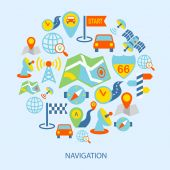 Mobile navigation icons flat — Stock Vector