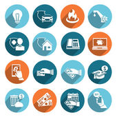 Pay Bill Icons Flat Set — Stock Vector
