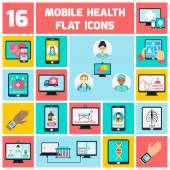Mobile health icons set — Stock Vector