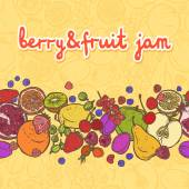 Fruits and berries border horizontal — Stock Vector