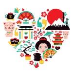 Japan symbols heart — Stock Vector #53324429
