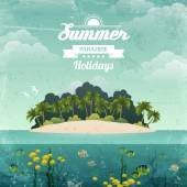 Tropical island vintage poster — Stock Vector