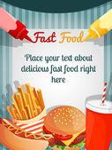 Fast food menu poster — Stock Vector