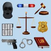 Law and justice icons set — Vector de stock