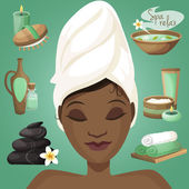Black woman in spa — Stock Vector
