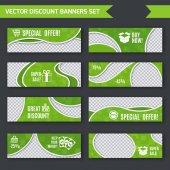 Discount banners green set — Stock Vector