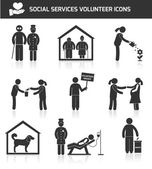 Social services icons set black — Stock Vector