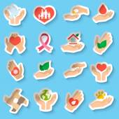 Charity and donation stickers — Stock Vector