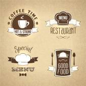 Restaurant menu emblems set textured — Stock Vector