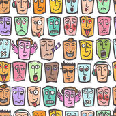 Sketch emoticons seamless pattern — Stock Vector