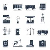 Energy icons black set — Stock Vector