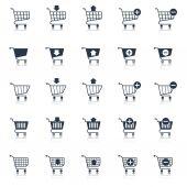 Shopping cart icons black — Stock Vector